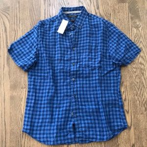 Banana Republic Checkered Linen Short Button Down